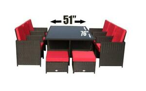 Outdoor Dining Set - 11 pc (Brown & Red) Brown & Red