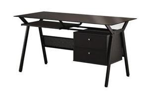 Glass Top Office Desk with 2 Drawers Metal Frame - Black Black