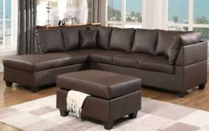 Leather Sectional Set with Chaise and Ottoman - Chocolate Left Side / Chocolate