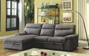 Elephant Skin Sectional Sofa Bed with Left Side Or Right Side Chaise - Grey Left Side Chaise / Grey