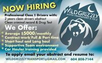 WILD GRIZZLY TRANSPORT IS HIRING