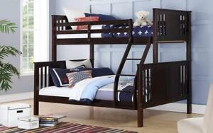 Bunk Bed - Twin over Double with or without Drawers Solid Wood - Espresso Espresso / With Drawers