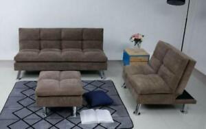 Fabric Sofa Bed Set - 3 pc - Brown Brown