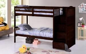 Bunk Bed - Twin over Twin or Double with Drawers, Staircase Solid Wood - Espresso Espresso / Twin Twin