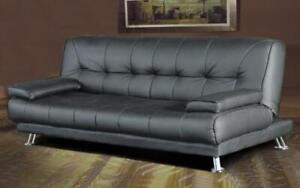 Leather Sofa Bed with Chrome Legs - Grey Grey