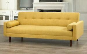 Fabric Sofa Bed with Arm Rest - Golden Yellow Golden Yellow