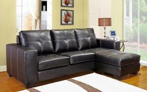 ***BLOWOUT SALE****SECTIONAL WITH REVERSIBLE CHAISE (BLACK)****LOWEST PRICES