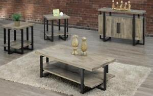 Coffee Table Set with Shelf - 3 pc - Black | Distressed Grey 3 pc Set / Black | Distressed Grey