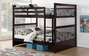Bunk Bed - Double over Double Mission Style with or without Drawers Solid Wood - Espresso Espresso / With Drawers