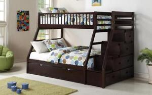 Bunk Bed - Twin over Double with Trundle, Drawers, Staircase Solid Wood - Espresso Espresso
