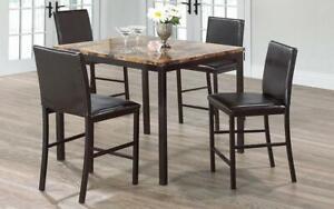 Pub Set with Chairs - 5 pc - Brown | Black Brown | Black