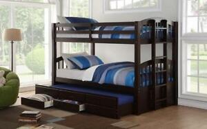 Bunk Bed - Twin over Twin with Trundle and Drawers Solid Wood - Espresso Espresso