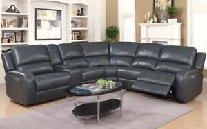 Recliner Corner Sectional with Air Leather - Black | Chocolate Black