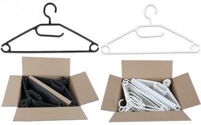 50 Stück Kunststoff Antirutsch Kleiderbügel Drehbare Haken Schwarz oder Weiss ()