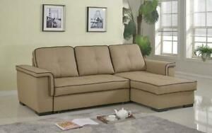 Leather Sectional Sofa Bed with Right Side Chaise - Latte Brown | Chocolate Latte Brown | Chocolate