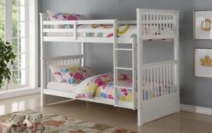 Bunk Bed - Twin over Twin Solid Wood - Grey | White | Espresso | Honey White