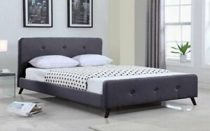 Platform Bed with Button-Tufted Fabric - Grey Queen / Grey / Linen Style Fabric