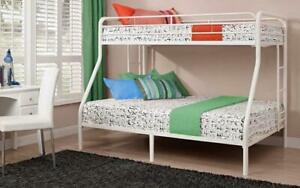 Bunk Bed - Twin over Double with Metal - Black   White   Grey White