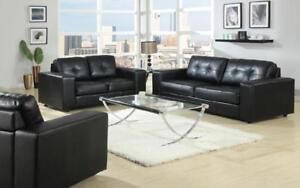 Sofa Set - 3 Piece - Black 3 pc Set / Black