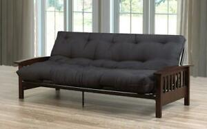 Wood And Metal Futon Frame - Black | Espresso Futon / Black | Espresso