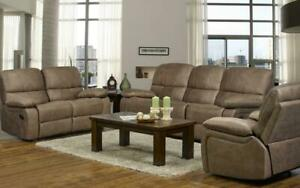 Recliner Set - 3 Piece with Air Suede Fabric - Caramel 3 pc Set / Caramel