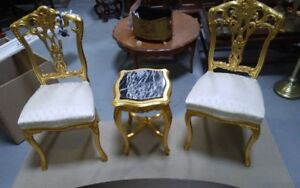 set of 2 gold leaves chairs and table from Egypt