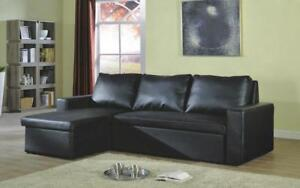 Leather Sectional Sofa Bed with Reversible Chaise - Black Black