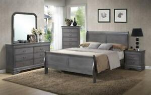 Sleigh Bedroom Set 8 pc - Grey King / Grey / Solid Wood