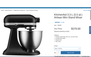 Brand New Kitchenaid Artisan Mini Mixer Matte Black Open Box