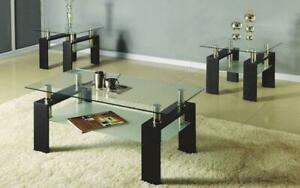 Coffee Table Set with Glass Top with Shelf - 3 pc - Espresso | Black 3 pc Set / Espresso