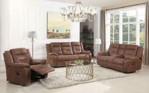 Recliner Set - 3 Piece with High Tech Fabric - Light Brown 3 pc Set / Light Brown
