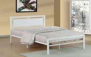 Platform Metal Bed with Leather - White Queen / White / Metal & Leather