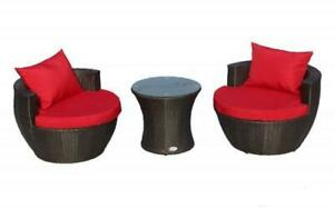Outdoor Bistro Set - 3 pc Dark Brown | Red