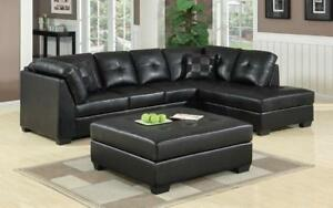 Leather Sectional Set with Left Side Or Right Side Chaise and Ottoman - Black Right Side Chaise / Black
