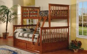 Bunk Bed - Twin over Double Mission Style with or without Drawers Solid Wood - Walnut Walnut / With Drawers Canada Preview