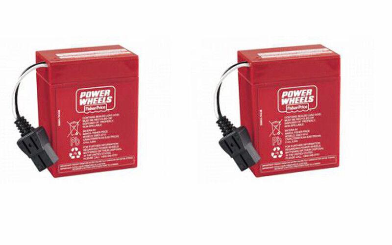 ** NEW ** Power Wheels 6 Volt Red Battery (2 Batteries)  00801-0712 6V