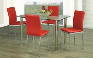 Kitchen Set with Glass Top - 5 pc - White   Black   Red 5 pc Set / Red