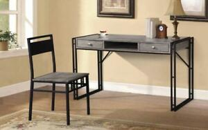 Office Desk and Chair Set with 2 Drawers Metal Legs - Distressed Grey & Black Distressed Grey & Black