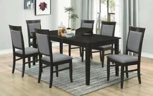 Kitchen Set Solid Wood with Butterfly Leaf - 7 pc - Espresso   Grey 7 pc Set - Solid Pattern / Espresso   Grey