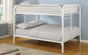 Bunk Bed - Double over Double with Metal - White   Black   Grey White