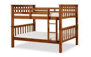 Bunk Bed - Twin over Twin Solid Wood - Espresso   White   Oak Oak