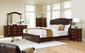 Bedroom Set with Leather Insert Head Board 8 pc - Brown Cherry King / Brown Cherry