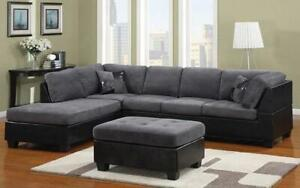 Fabric Sectional Set with Left Side Or Right Side Chaise and Ottoman - Grey   Black Left Side Chaise / Black   Grey