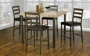 Pub Set with Chairs - 5 pc - Light Brown | Beige Light Brown | Beige