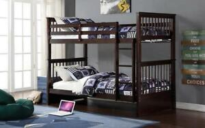 Bunk Bed - Twin over Twin Solid Wood - Grey | White | Espresso | Honey Espresso