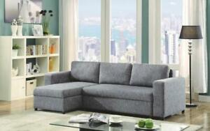 Linen Sectional Sofa Bed with Reversible Chaise - Grey Grey