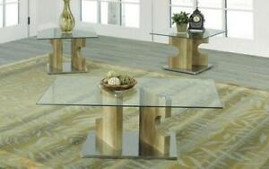 Coffee Table Set with Glass Top - 3 pc - Reclaimed Wood 3 pc Set / Reclaimed Wood