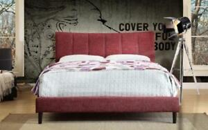 Platform Bed with Linen Style Fabric - Red Queen / Red / Linen Style Fabric