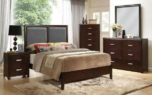 Bedroom Set with Leather Insert Head Board 8 pc - Espresso King / Espresso