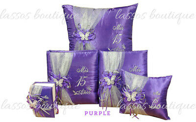 5PC Purple Quinceanera Mis Quince Anos Pillow Guestbook Album Bible Decorations](Mis Quince Anos Decorations)